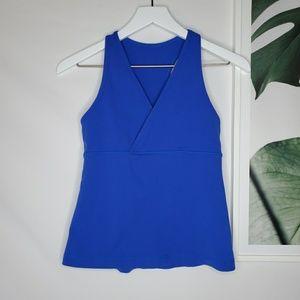 Lululemon Blue Cotton Yoga Workout Tank Surplice